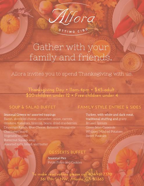 Thanksgiving Allora Menu